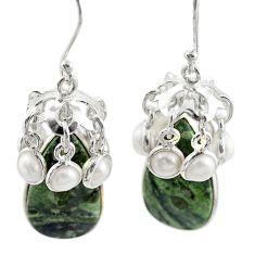 Natural green kambaba jasper (stromatolites) 925 silver dangle earrings m44197