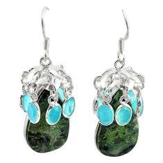 Natural green kambaba jasper (stromatolites) 925 silver dangle earrings m44199