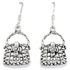 Indonesian bali style solid 925 silver sexy purse earrings jewelry p2672