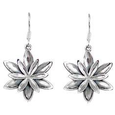 5.78gms indonesian bali style solid 925 sterling silver flower earrings p4086
