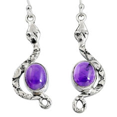 6.33cts natural purple amethyst 925 sterling silver snake earrings r10102