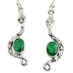 925 sterling silver 5.54cts natural green emerald snake earrings jewelry r10103