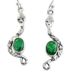 925 sterling silver 5.82cts natural green emerald snake earrings jewelry r10106