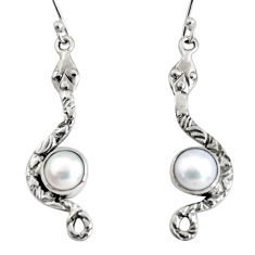 4.69cts natural white pearl 925 sterling silver snake earrings jewelry r10107