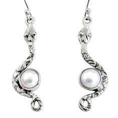 925 sterling silver 4.47cts natural white pearl snake earrings jewelry r10109