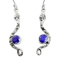 2.33cts natural blue sapphire 925 sterling silver snake earrings jewelry r10111