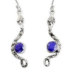 925 sterling silver 4.47cts natural blue sapphire snake earrings jewelry r10112