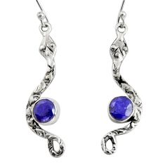 4.08cts natural blue sapphire 925 sterling silver snake earrings jewelry r10113