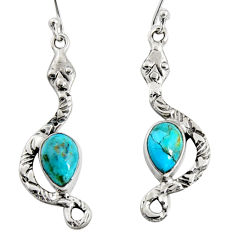 5.38cts blue arizona mohave turquoise 925 sterling silver snake earrings r10115