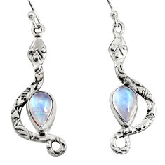 925 sterling silver 4.93cts natural rainbow moonstone snake earrings r10116