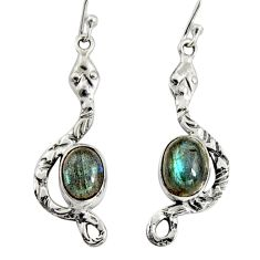 925 sterling silver 6.07cts natural blue labradorite snake earrings r10120