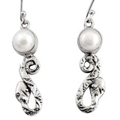 5.63cts natural white pearl 925 sterling silver snake earrings jewelry r10122