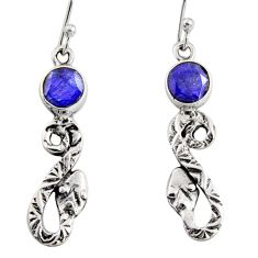 4.23cts natural blue sapphire 925 sterling silver snake earrings jewelry r10123