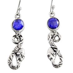 925 sterling silver 4.26cts natural blue sapphire snake earrings jewelry r10124
