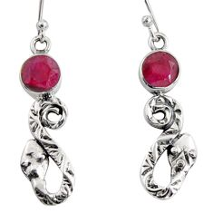 925 sterling silver 4.03cts natural red ruby snake earrings jewelry r10127