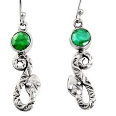 3.83cts natural green emerald 925 sterling silver snake earrings jewelry r10132