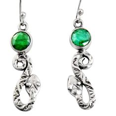 3.62cts natural green emerald 925 sterling silver snake earrings jewelry r10133