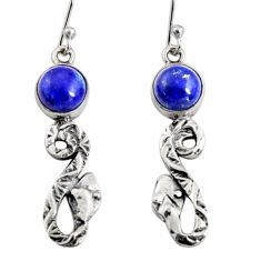 5.63cts natural blue lapis lazuli 925 sterling silver snake earrings r10136