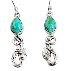 925 sterling silver 5.11cts green arizona mohave turquoise snake earrings r10137