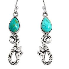 5.38cts green arizona mohave turquoise 925 sterling silver snake earrings r10138