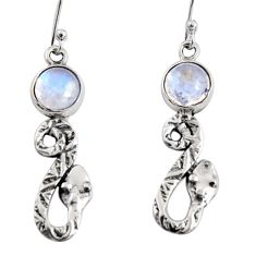 925 sterling silver 5.11cts natural rainbow moonstone snake earrings r10140