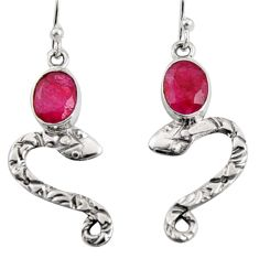4.21cts natural red ruby 925 sterling silver snake earrings jewelry r10142
