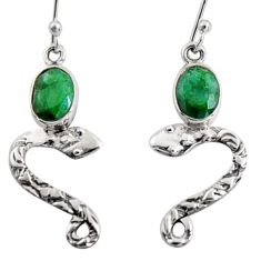 925 sterling silver 4.22cts natural green emerald snake earrings jewelry r10143