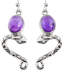 6.57cts natural purple amethyst 925 sterling silver snake earrings r10145