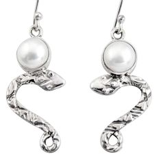4.69cts natural white pearl 925 sterling silver snake earrings jewelry r10148