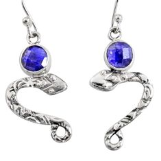 925 sterling silver 3.87cts natural blue sapphire snake earrings jewelry r10150