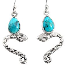 4.84cts blue arizona mohave turquoise 925 sterling silver snake earrings r10155
