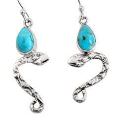4.67cts blue arizona mohave turquoise 925 sterling silver snake earrings r10156