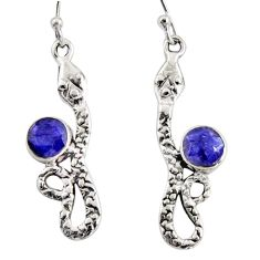 4.92cts natural blue sapphire 925 sterling silver snake earrings jewelry r10162