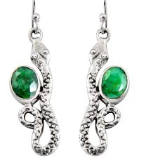 925 sterling silver 4.70cts natural green emerald snake earrings jewelry r10164