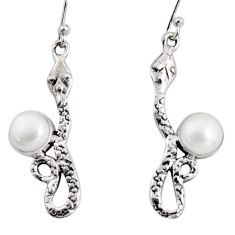 5.63cts natural white pearl 925 sterling silver snake earrings jewelry r10166