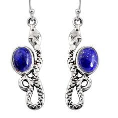 6.31cts natural blue lapis lazuli 925 sterling silver snake earrings r10169
