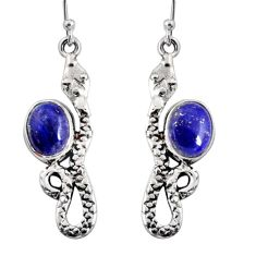 5.87cts natural blue lapis lazuli 925 sterling silver snake earrings r10170
