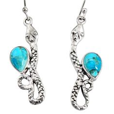 4.93cts blue arizona mohave turquoise 925 sterling silver snake earrings r10173