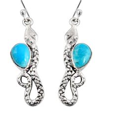 4.94cts blue arizona mohave turquoise 925 sterling silver snake earrings r10174