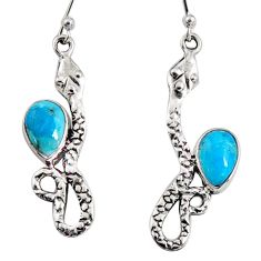 925 sterling silver 4.91cts blue arizona mohave turquoise snake earrings r10175