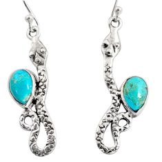 4.92cts green arizona mohave turquoise 925 sterling silver snake earrings r10176