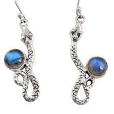 5.16cts natural blue labradorite 925 sterling silver snake earrings r10180