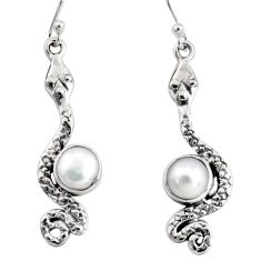 5.11cts natural white pearl 925 sterling silver snake earrings jewelry r10181