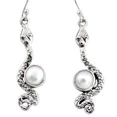 5.38cts natural white pearl 925 sterling silver snake earrings jewelry r10182