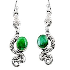 4.50cts natural green emerald 925 sterling silver snake earrings jewelry r10186