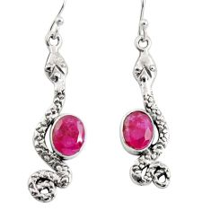 4.52cts natural red ruby 925 sterling silver snake earrings jewelry r10189
