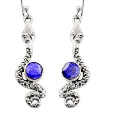 2.44cts natural blue sapphire 925 sterling silver snake earrings jewelry r10190