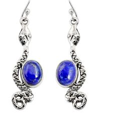 925 sterling silver 6.04cts natural blue lapis lazuli snake earrings r10191