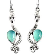 5.14cts natural aqua chalcedony 925 sterling silver snake earrings r10192
