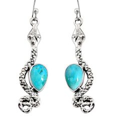 5.11cts blue arizona mohave turquoise 925 sterling silver snake earrings r10193